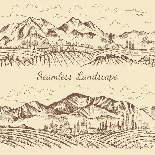Seamless pictures of nature landscape Premium Vector