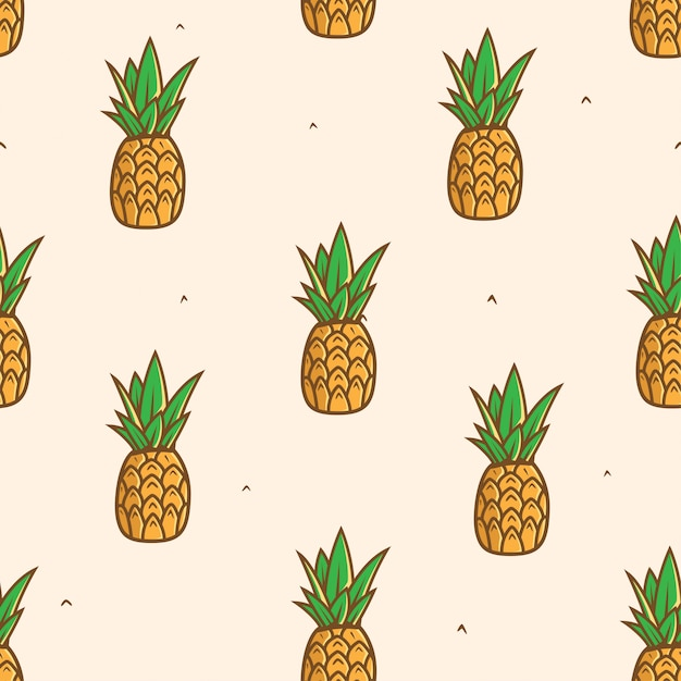 Seamless pineapple fruit pattern background Premium Vector