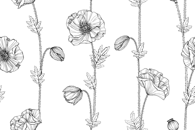 Seamless Poppy Flower Pattern Background Premium Vector