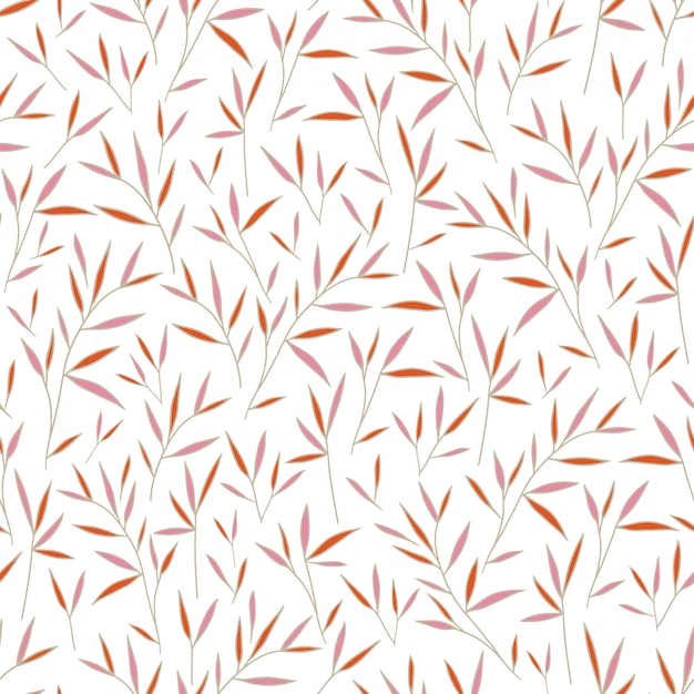 Seamless pretty bamboo pink and orange leaves pattern Premium Vector