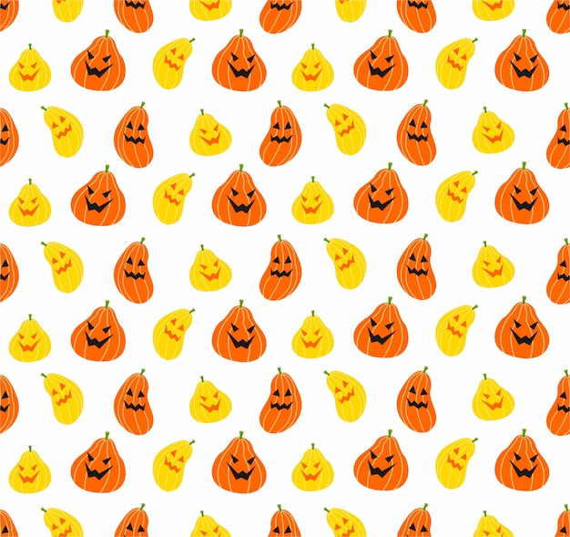 Seamless pumpkin halloween pattern on white background Premium Vector