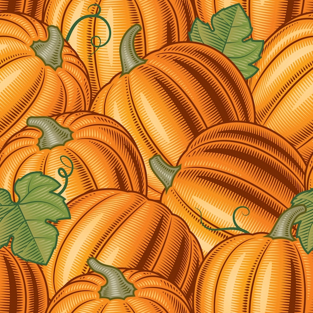 Seamless pumpkin pattern Premium Vector