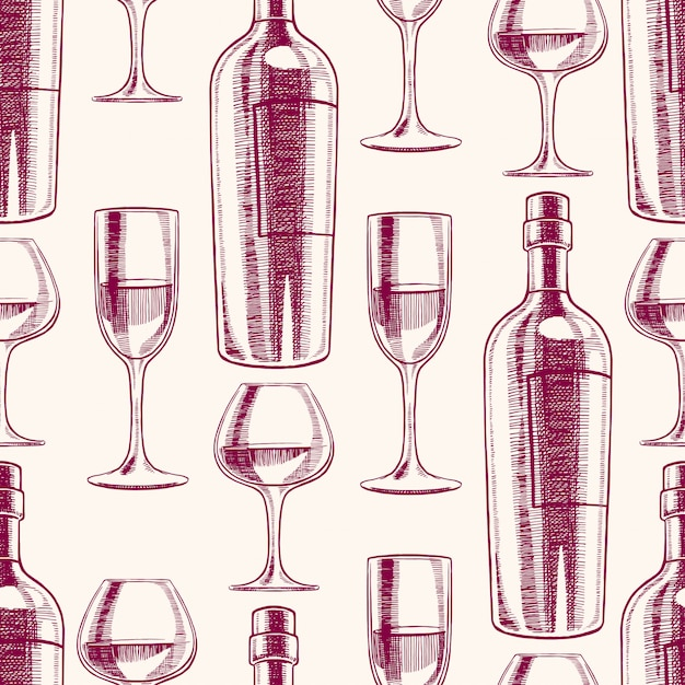 Seamless purple background with bottles and glasses of wine. hand-drawn illustration Premium Vector