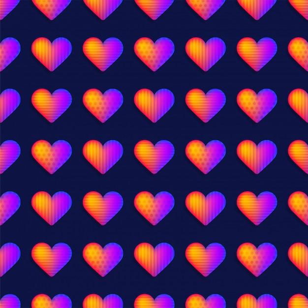 Seamless rainbow realistic heart pattern vector. Premium Vector