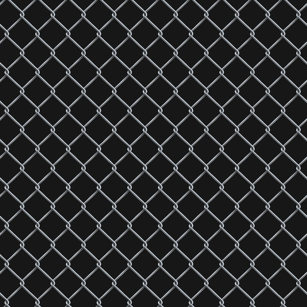 Seamless  realistic chain link fence background. Premium Vector