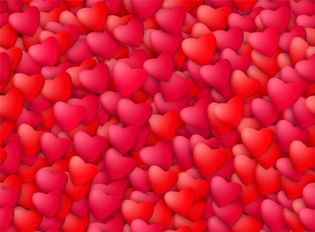 Шаблон бесшовные реалистичные сердца. любовь, страсть и концепция дня святого валентина. Бесплатные векторы