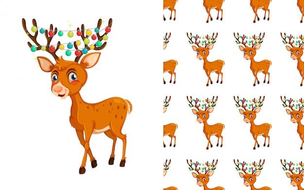 Seamless reindeer animal pattern cartoon Free Vector
