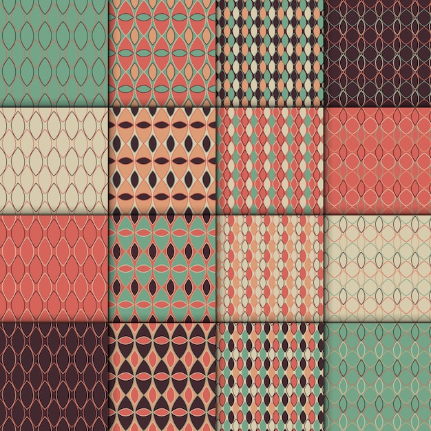 Seamless retro style pattern set. simple geometric  texture collection . set of 16 backgro Premium Vector