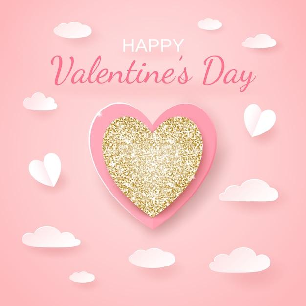 Realistickゴールデンと紙でシームレスな聖バレンタインの日カードは、ハート、ピンクのclowdsをカットしました。 Premiumベクター