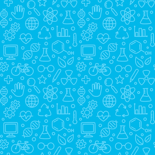 Seamless science pattern, hand drawn science doodles on blue. Premium Vector
