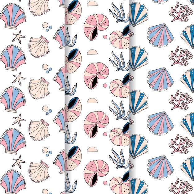 シームレスな貝殻パターンコレクション 無料ベクター