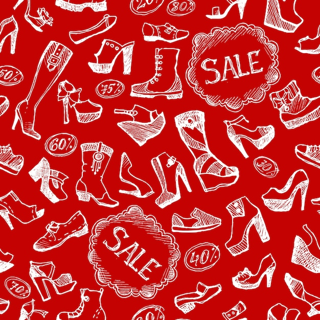 Seamless shoes background Free Vector