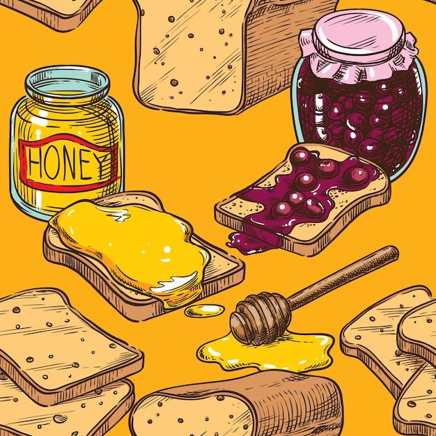 Бесшовный эскиз тост с медом и вишневым вареньем Premium векторы