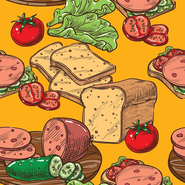 ソーセージサラダとトマトのシームレスなスケッチトースト Premiumベクター