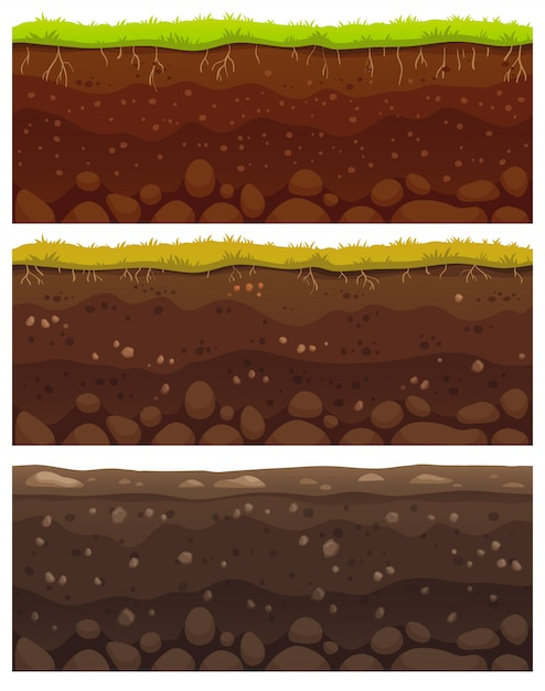 Seamless soil layers. dirt clay, ground surface with stones and grass texture pattern Premium Vector