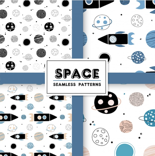 Seamless space pattern with rockets and planets. Premium Vector
