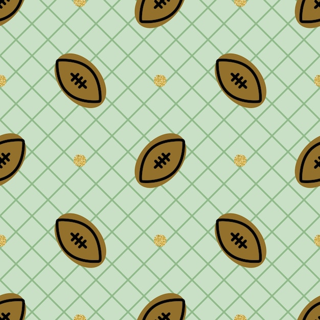 Seamless sport pattern background with rugby Premium Vector