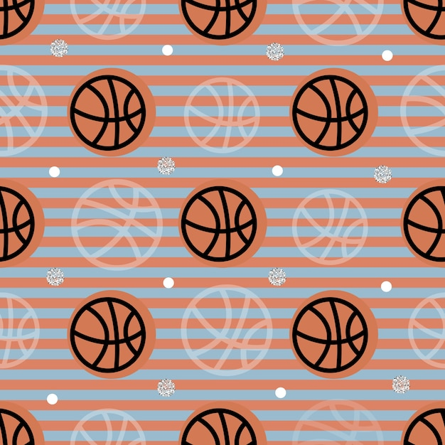 Seamless sport pattern on stripe background from basketball Premium Vector