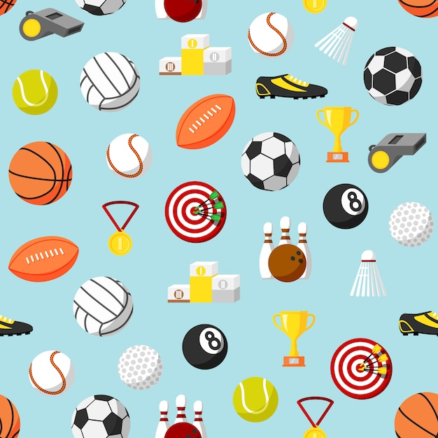 Seamless sports pattern background Free Vector
