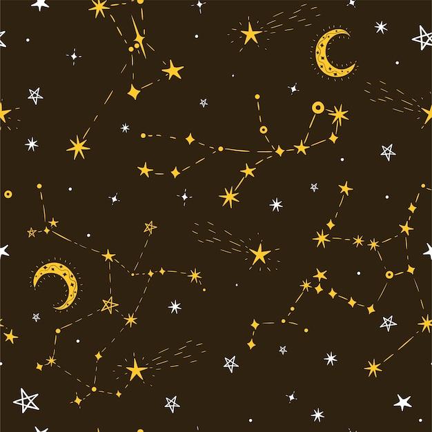 달과 별자리와 원활한 스타 패턴입니다. 프리미엄 벡터