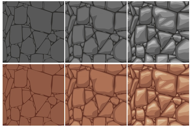 Seamless stone texture, 3 step drawing. brown and gray stones background. cartoon seamless texture. Premium Vector
