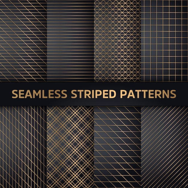 Seamless striped patterns, white and grey texture Free Vector
