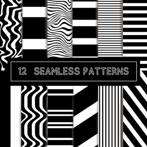 Seamless striped patterns Premium Vector