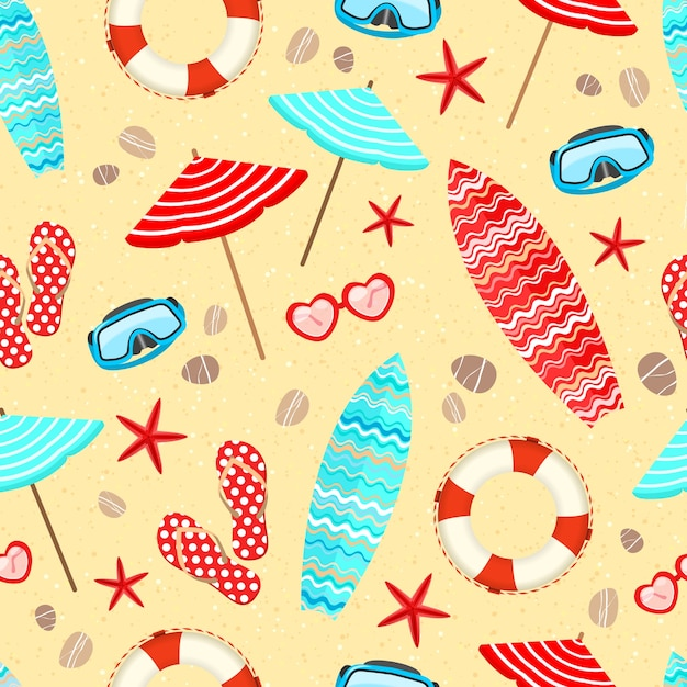 Seamless summer holiday vacation pattern\ background vector illustration
