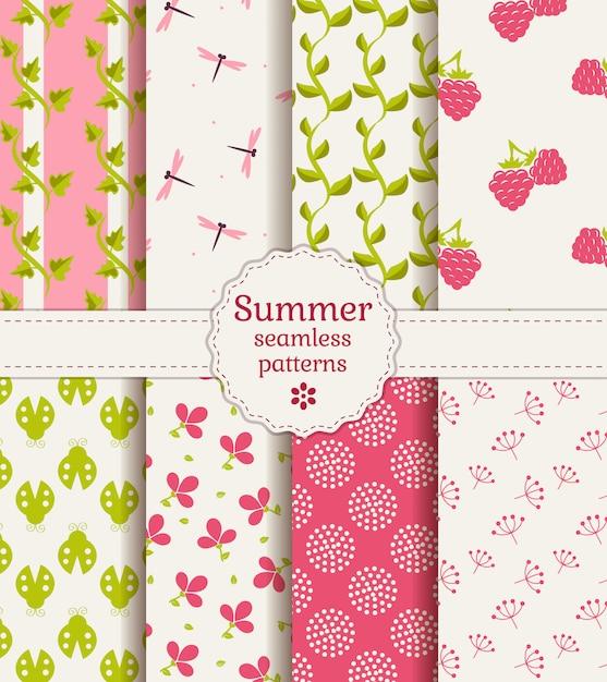 Seamless summer patterns. vector set. Premium Vector