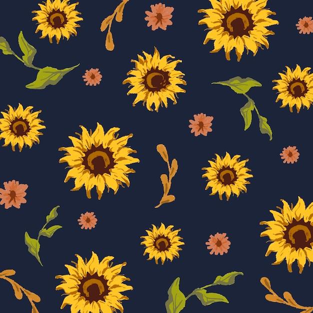 Seamless sunflower pattern Free Vector