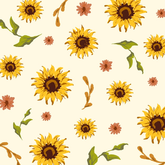 Seamless sunflower pattern Free Vector