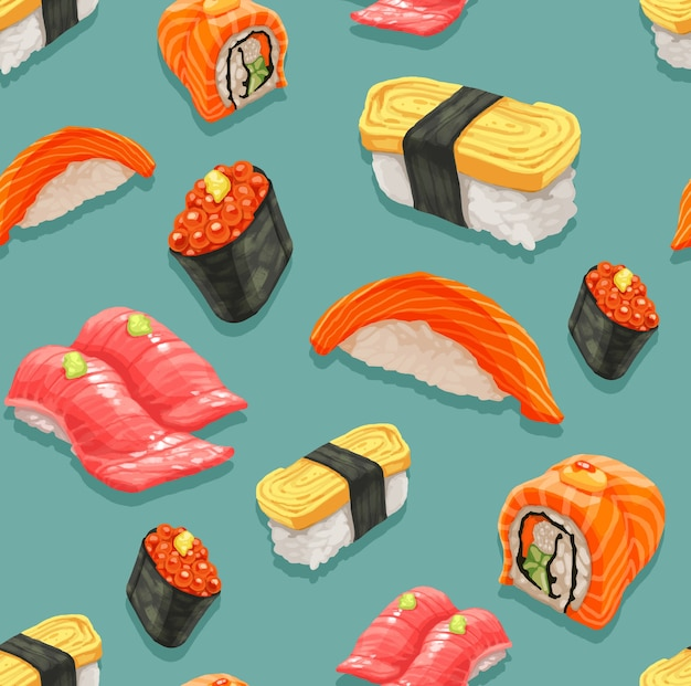 Seamless of sushi and japanese food pattern. Premium Vector