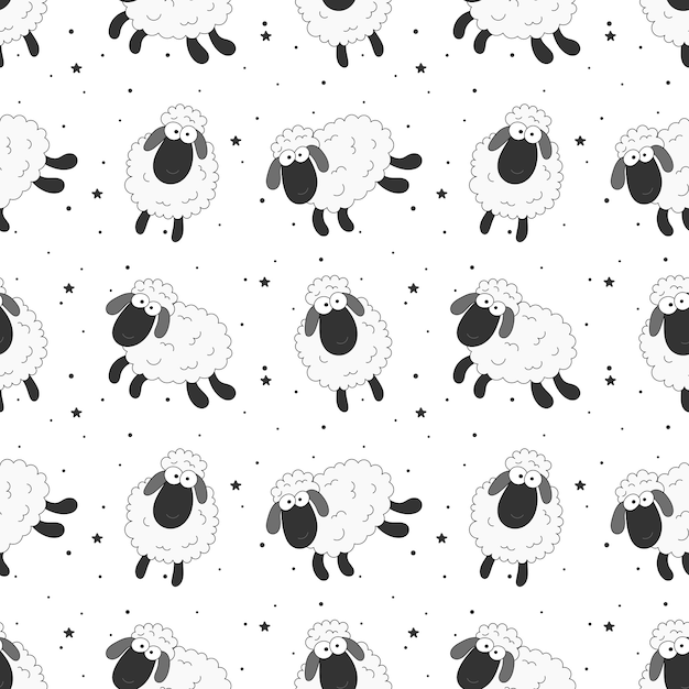 Seamless sweet dreams sheep funny animal pattern for fabric, textile, paper, wallpaper, wrapping Premium Vector