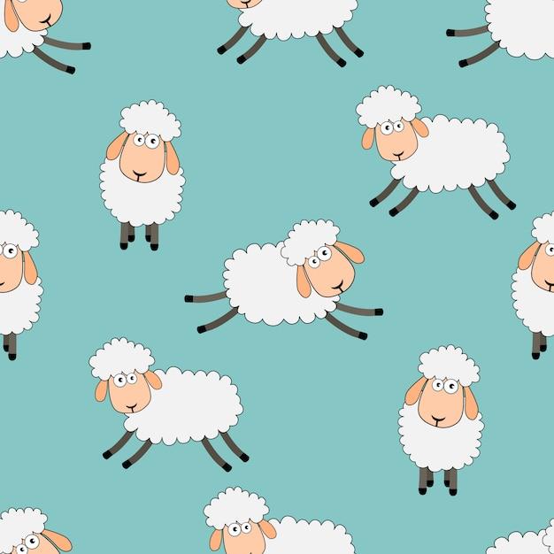 Seamless sweet dreams sheep funny animal pattern Premium Vector
