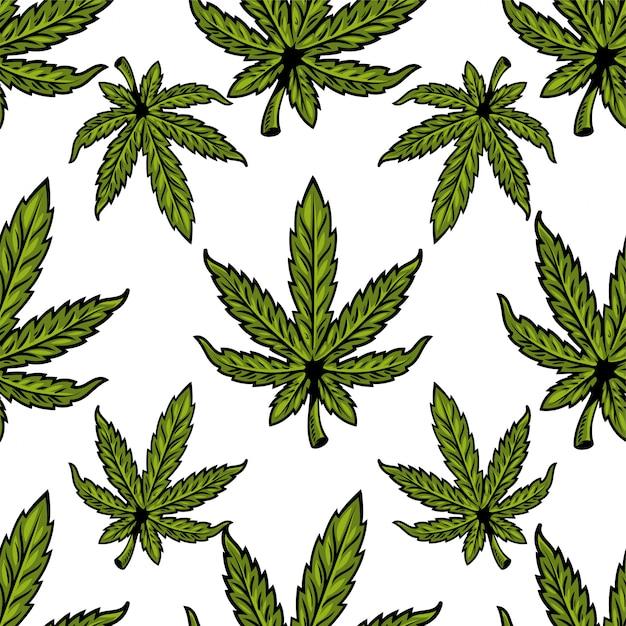 マリファナ、大麻、雑草、麻cbdオイル、芽医療大麻thcの自然のバイオエコ植物の葉とのシームレスなテキスタイルパターン。ポスター、ステッカー、バナー、服のモダンなプリントデザインイラスト。 Premiumベクター