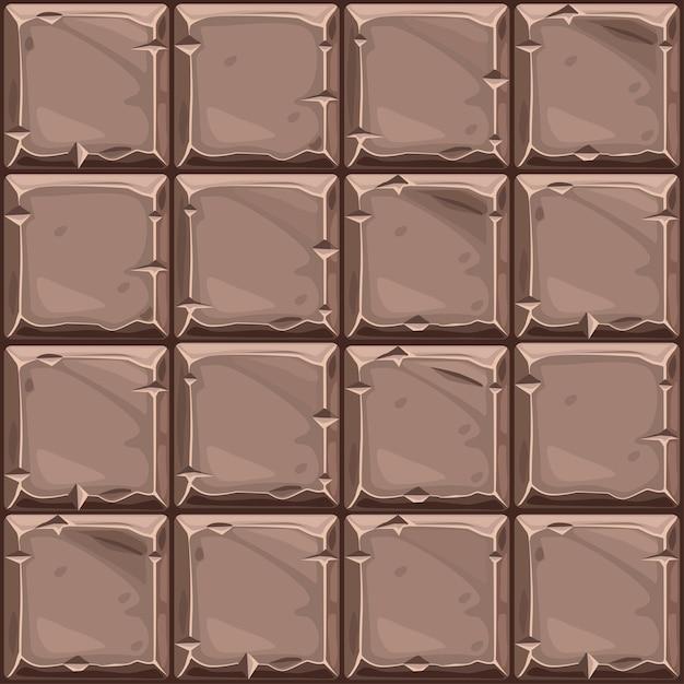 茶色の正方形の石、背景の石の壁のタイルのシームレスなテクスチャ。 Premiumベクター