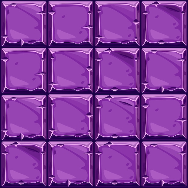 紫色の正方形の石、背景の石の壁のタイルのシームレスなテクスチャ。 Premiumベクター