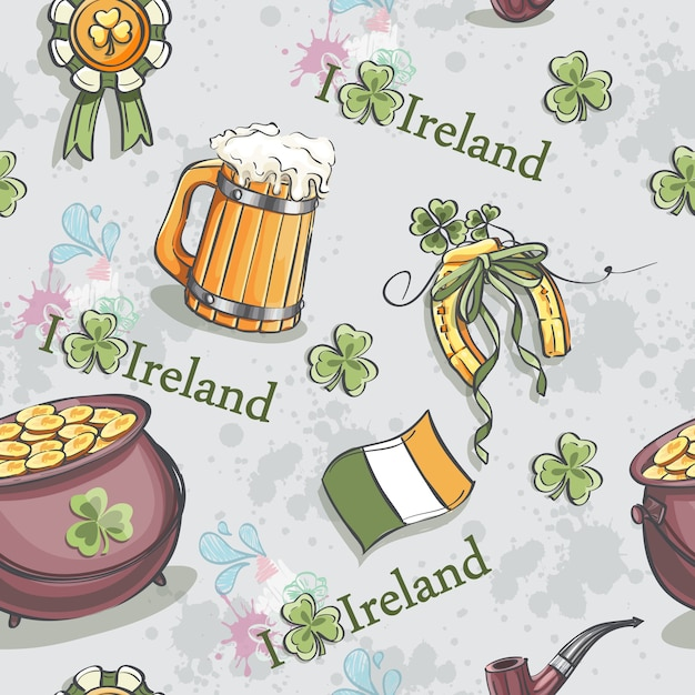 Seamless texture for st. patrickus day with a pot of gold and a wooden beer Premium Vector