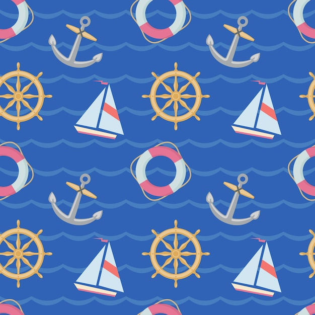 Seamless texture with ships, anchors and lifebuoys on blue backgrownd. the texture can be used in the design of a children's room, theme parties, in the manufacture of wrapping paper. Premium Vector
