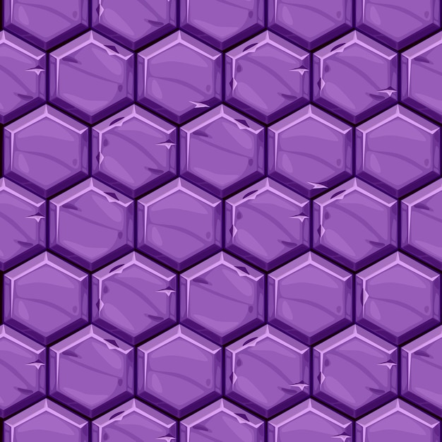 Seamless textured of bright purple hexagonal stone tiles. background vintage paving geometric tiles. Free Vector