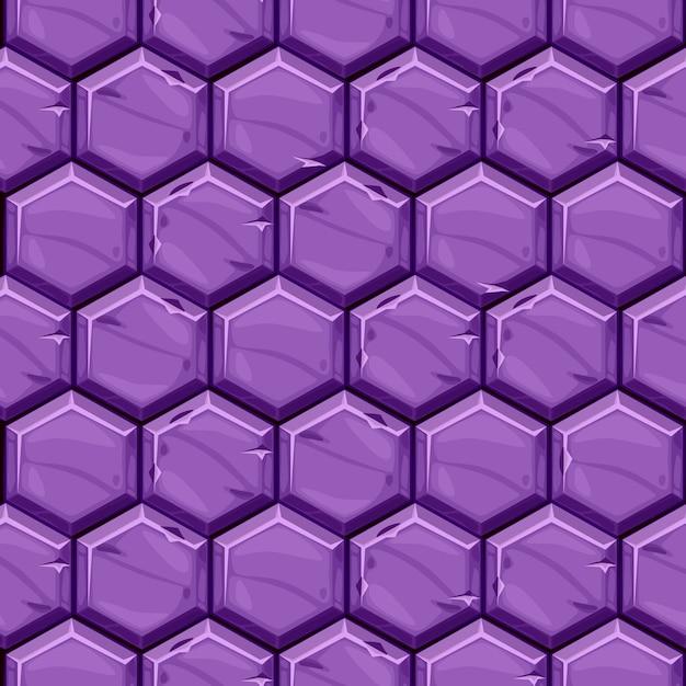 Бесшовные текстуры ярко-фиолетовый шестиугольной каменной плитки. фон старинные вымощая геометрические плитки. Бесплатные векторы