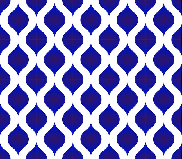 Seamless thai pattern, ceramic blue and white modern shape background Premium Vector