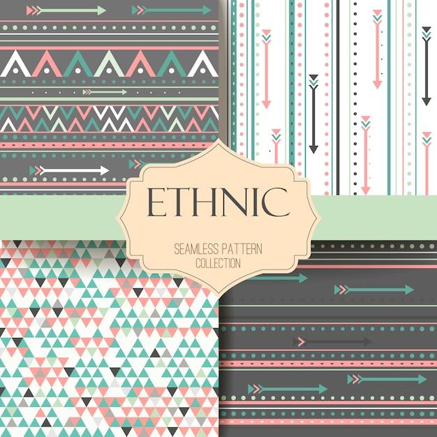 Seamless tribal texture aztec set. boho stripes. ethnic pattern. Premium Vector