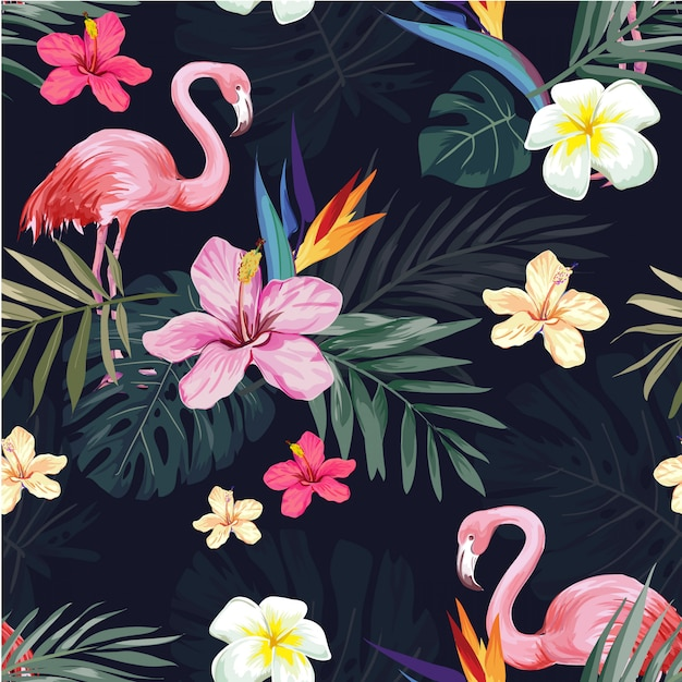 Seamless tropical exotic  flower and flaming pattern Premium Vector