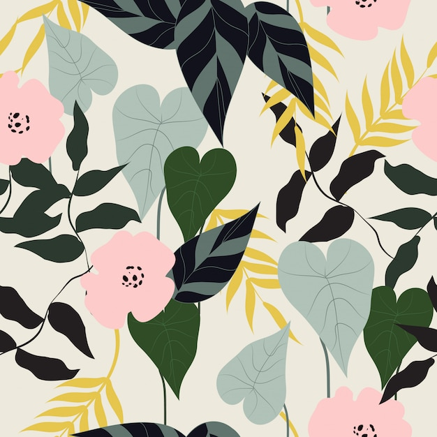 Seamless tropical floral seamless pattern Premium Vector