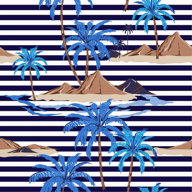 Seamless tropical island pattern with nautical stripes. palm tree Premium Vector