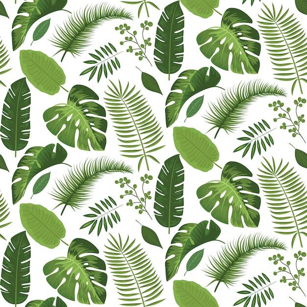 Seamless tropical leaves pattern summer design Premium Vector