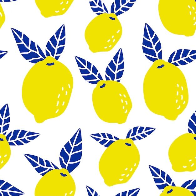 Seamless tropical lemon fruit pattern Premium Vector