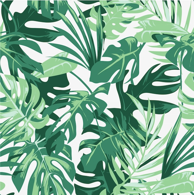 Seamless tropical palm leafs pattern illustration Premium Vector