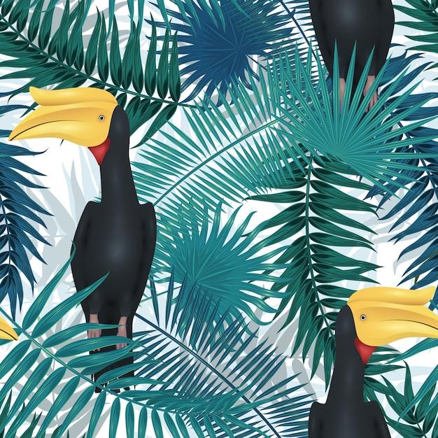 熱帯のシームレスなパターン、ヤシの木の枝、葉、葉、ヤシの葉でエキゾチックな背景。無限のテクスチャ Premiumベクター